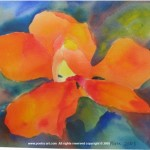 "Orange Petaled Blossom, watercolor, 16"" x 14"", $495"