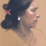 "Profile La Mujer, charcoal and pastel, 16"" x 20"", $595"